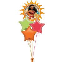 Букет шариков с гелием мультперсонаж Моана со звездами