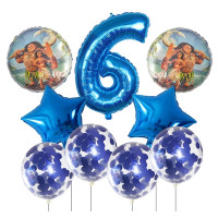 Набор шаров с персонажами м/ф Моана, цифрой и шарами с конфетти