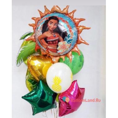 Букет из шариков тропический с Моаной и пальмой