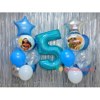 Композиция из воздушных шариков Моана с цифрой и звездами