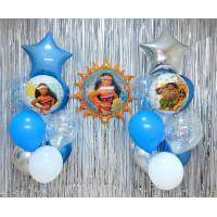 Композиция из шаров с гелием Моана со звездами