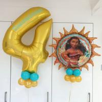 Набор воздушных шаров на День Рождения Моана с цифрой