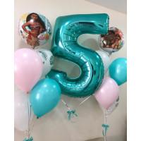Композиция из шаров на День Рождения с Моаной и цифрой