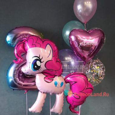 Композиция из гелевых шаров Моя милая пони, Пинки Пай с цифрой