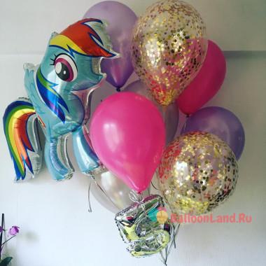Букет шариков Моя милая пони Радуга Дэш с цифрой и шарами с конфетти