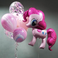 Набор шариков Пинки Пай с агатами и шарами с конфетти
