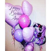 Композиция из шаров с гелием Моя Милая Пони Искорка с сердцами