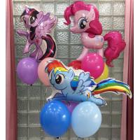 Композиция из шаров с пони Пинки пай, Радугой Дэш и Искоркой