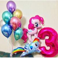 Композиция из шариков Пинки Пай и радуга Дэш с цифрой