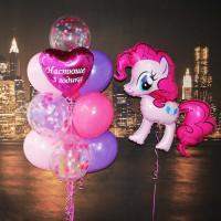 Композиция из шаров Моя милая пони, Пинки Пай с сердцем и Вашими пожеланиями