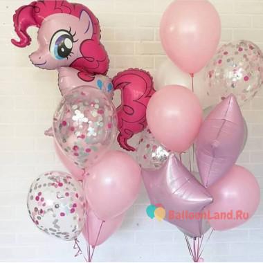Композиция из шариков Моя милая пони Пинки Пай со звездами и шарами с конфетти