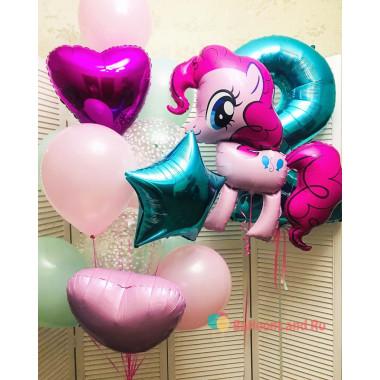 Композиция из гелиевых шаров с пони Пинки Пай и цифрой