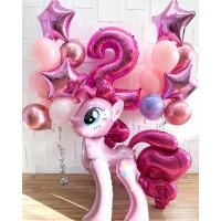 Композиция из гелевых шаров с пони Пинки Пай с цифрой и звездами