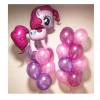 Композиция из гелевых шаров в розовых тонах с пони Пинки Пай