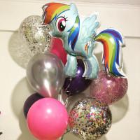 Букет гелиевых шаров Пони Радуга с шарами с конфетти