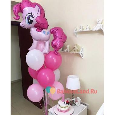 Букет из шаров с гелием с мультперсонажем пони Пинки Пай