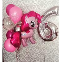 Композиция из шариков Моя милая пони на День Рождения с цифрой