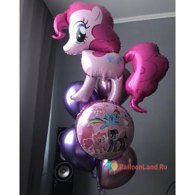 Букет из шаров с героями м/ф Моя милая пони c шарами хром