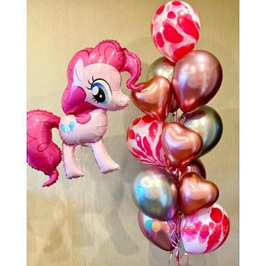 Композиция из шариков Пинки Пай с агатами и сердцами