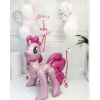 Композиция из шаров пони Пинки Пай с шаром с перьями и вашими пожеланиями
