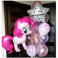Композиция из шаров с гелием с персонажем м/ф Моя милая пони Пинки Пай и звездой с вашими пожеланиями