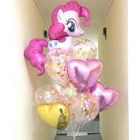 Букет из шаров с гелием с пони Пинки Пай со звездами и шарами с конфетти
