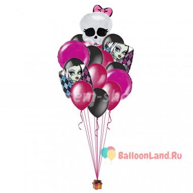 Букет из шариков Монстр Хай с черепом с бантиком