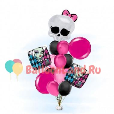 Букет из шариков Монстр Хай с черепом с бантиком в розово-черной гамме