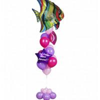 Фонтан из воздушных шаров с тропической рыбкой и вашей надписью