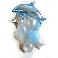 Букет шаров Дельфин и звёзды