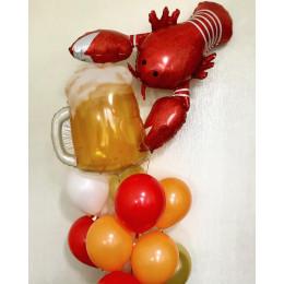 Букет воздушных шаров Кружка пива и рак