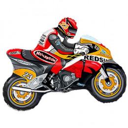 Фигурный шар Байкер на оранжевом мотоцикле