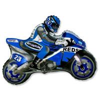 Фигурный шар Байкер на синем мотоцикле