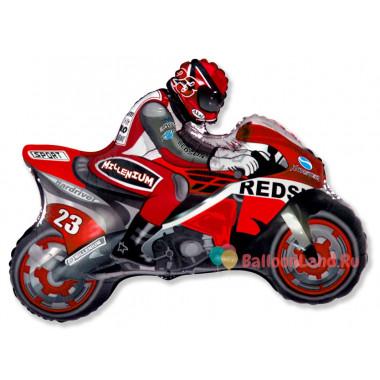 Фигурный шар Байкер на красном мотоцикле