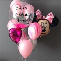 Букет из воздушных шариков на День Рождения с шаром с перьями, Минни, сердцем и агатами