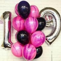Сет из шариков с гелием с цифрами и агатами для девушки на День Рождения