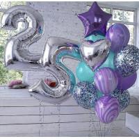Композиция из шариков на День Рождения с цифрами, сердцем, звездой и агатами