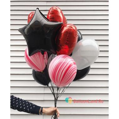 Букет шариков с черной звездой, сердцами и агатами