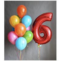 Композиция из шаров на День Рождения с цифрой и агатами