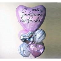 Букет из шаров для сестренки с сердцами и агатами