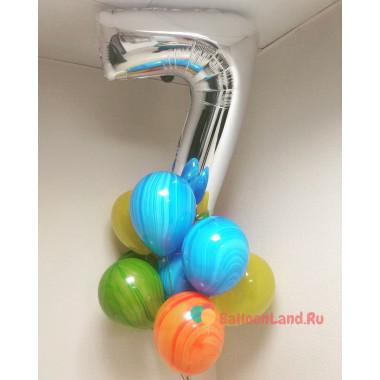 Букет из воздушных шаров с цифрой и агатами на День Рождения