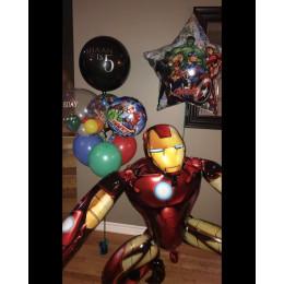 Композиция из гелевых шаров Железный Человек и все супер герои Мстители на День Рождения