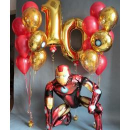 Композиция из гелиевых шаров на десять лет с Железным Человеком