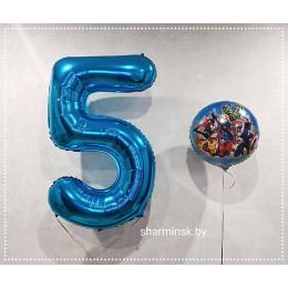 Набор шаров с гелием Мстители на День Рождения с цифрой