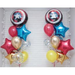Композиция из шариков с гелием из двух фонтанов со Щитом Америки