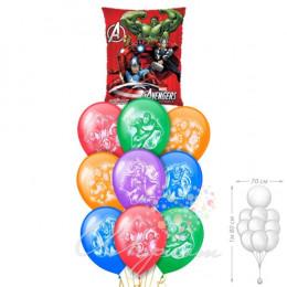 Фонтан из шариков с гелием с героями мультфильма Мстители