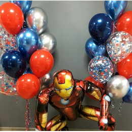 Композиция из шаров для мальчика с Железным Человеком