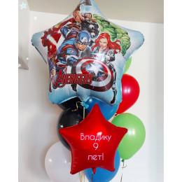 Букет из воздушных шариков на девять лет с Мстителями для мальчика