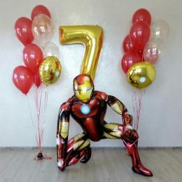 Композиция из воздушных шаров Железный Человек - Тони Старк с цифрой и двумя фонтанами