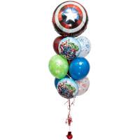 Фонтан из шариков с гелием Щит Капитана Америки и Мстители